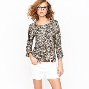 J. Crew Talitha Popover Paisley Silk Blouse Top